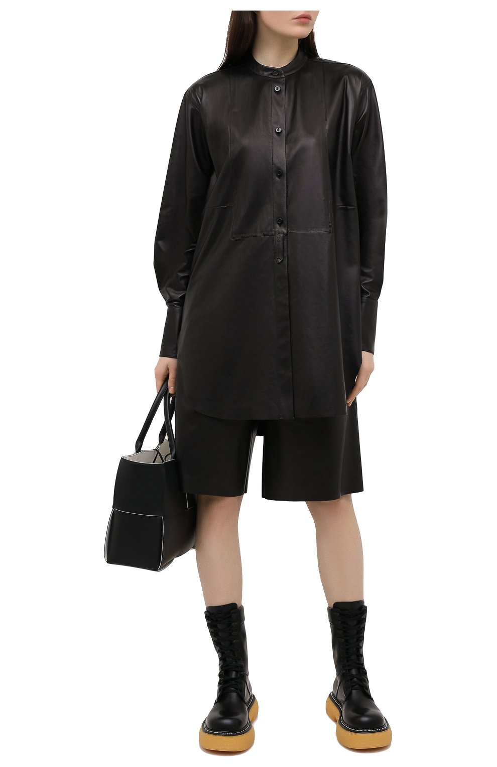 Женская кожаная рубашка DROME черного цвета, арт. DPDA523P/D400P   Фото 2