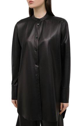 Женская кожаная рубашка DROME черного цвета, арт. DPDA523P/D400P   Фото 3