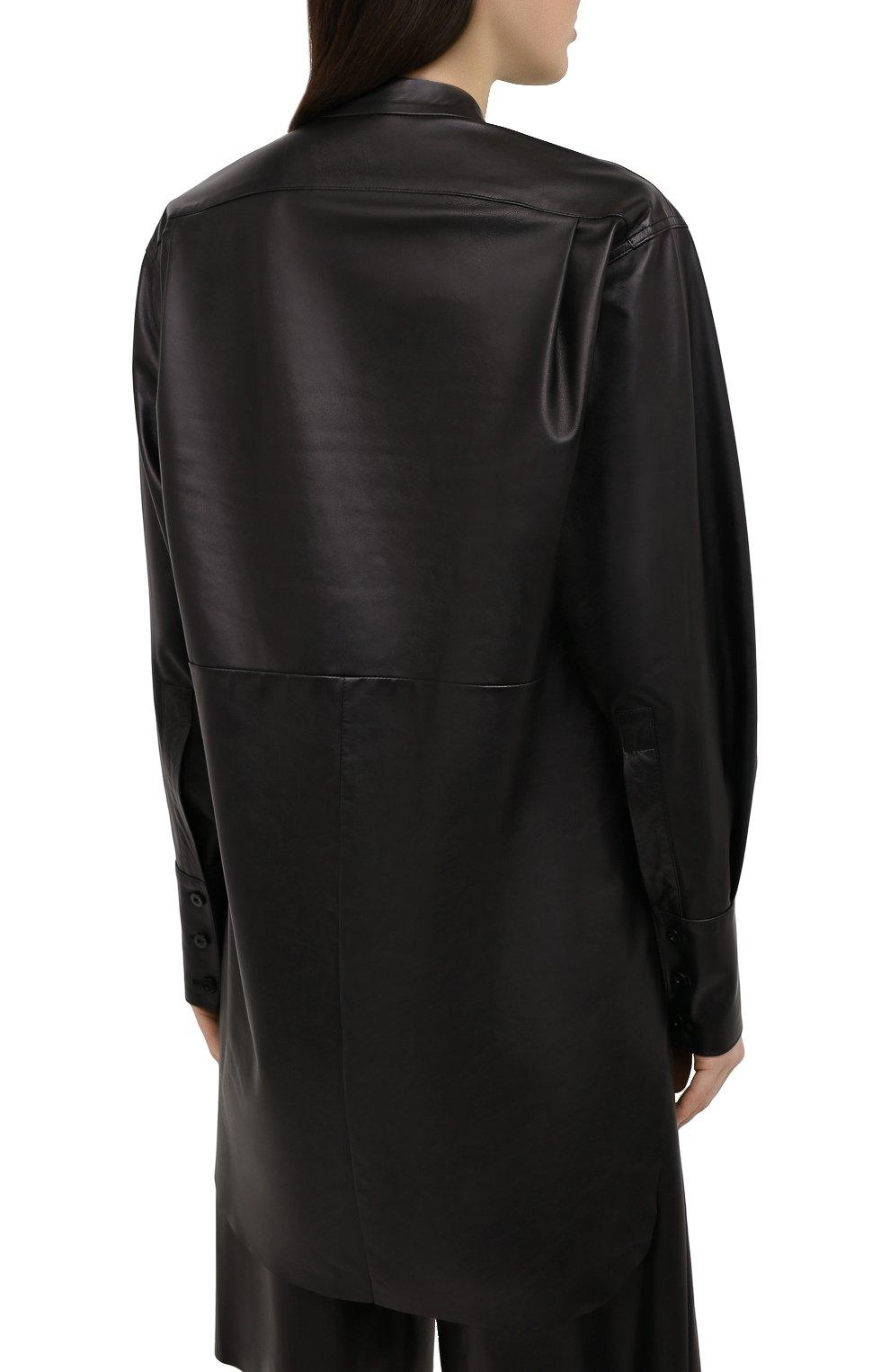 Женская кожаная рубашка DROME черного цвета, арт. DPDA523P/D400P   Фото 4