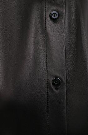 Женская кожаная рубашка DROME черного цвета, арт. DPDA523P/D400P   Фото 5