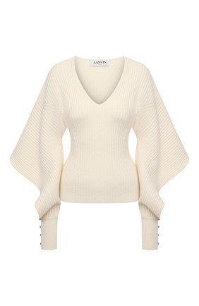 Женский пуловер из шерсти и кашемира LANVIN белого цвета, арт. RW-T0614M-MA06-P21 | Фото 1
