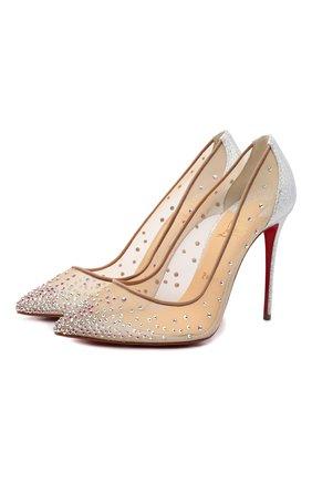 Женские текстильные туфли follies strass 100 CHRISTIAN LOUBOUTIN серебряного цвета, арт. 3200906/F0LLIES STRASS 100   Фото 1