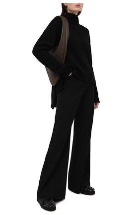 Женские кожаные кеды lou spikes CHRISTIAN LOUBOUTIN черного цвета, арт. 3200956/L0U SPIKES W0MAN 0RLAT0 FLAT   Фото 2