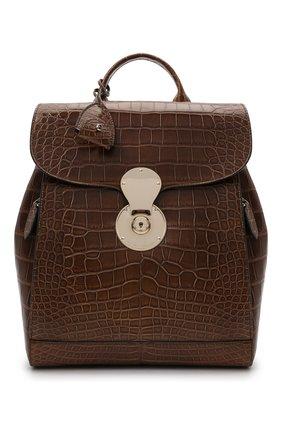 Женский рюкзак ricky из кожи аллигатора RALPH LAUREN коричневого цвета, арт. 435838537/AMIS | Фото 1