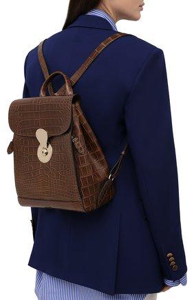 Женский рюкзак ricky из кожи аллигатора RALPH LAUREN коричневого цвета, арт. 435838537/AMIS | Фото 2