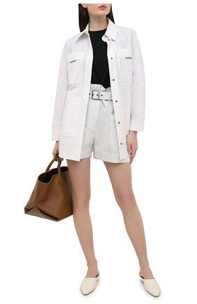 Женские шорты из хлопка и льна BRUNELLO CUCINELLI белого цвета, арт. MF787P7633 | Фото 2