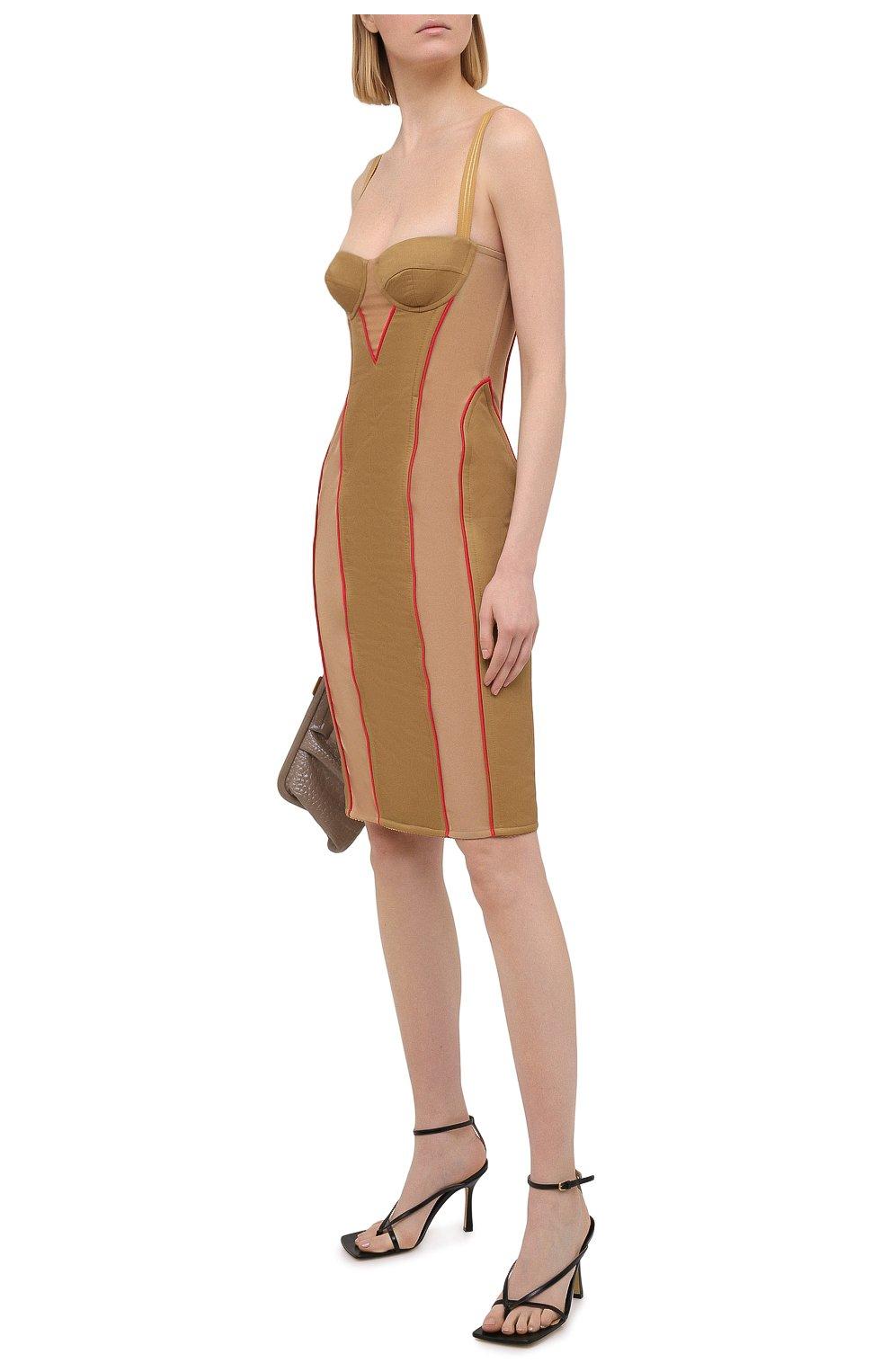 Женское платье BURBERRY бежевого цвета, арт. 8037152 | Фото 2
