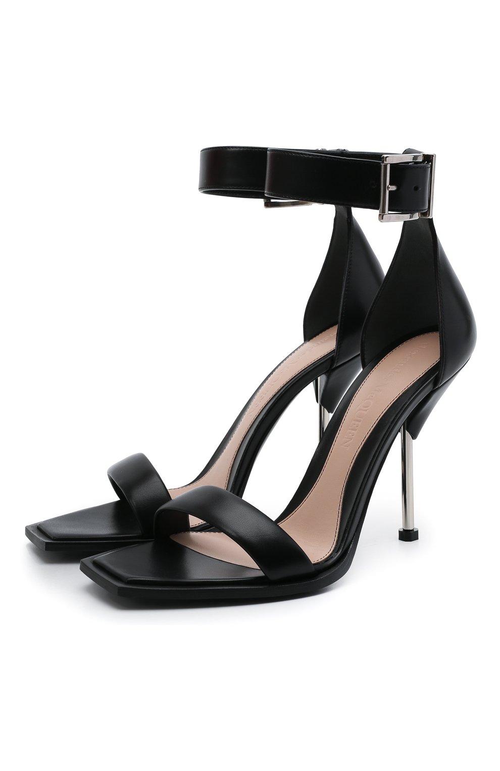 Женские кожаные босоножки ALEXANDER MCQUEEN черного цвета, арт. 651712/WHWQ1 | Фото 1 (Каблук высота: Высокий; Материал внутренний: Натуральная кожа; Каблук тип: Шпилька; Подошва: Плоская)