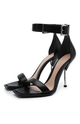 Женские кожаные босоножки ALEXANDER MCQUEEN черного цвета, арт. 651712/WHWQ1 | Фото 1 (Подошва: Плоская; Каблук тип: Шпилька; Каблук высота: Высокий; Материал внутренний: Натуральная кожа)