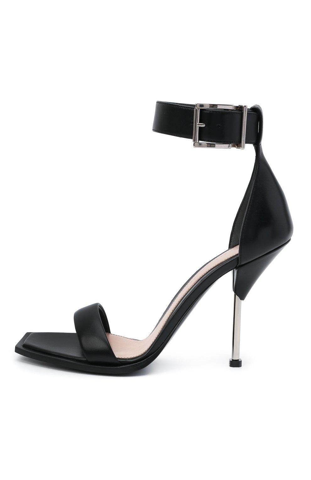 Женские кожаные босоножки ALEXANDER MCQUEEN черного цвета, арт. 651712/WHWQ1 | Фото 3 (Каблук высота: Высокий; Материал внутренний: Натуральная кожа; Каблук тип: Шпилька; Подошва: Плоская)