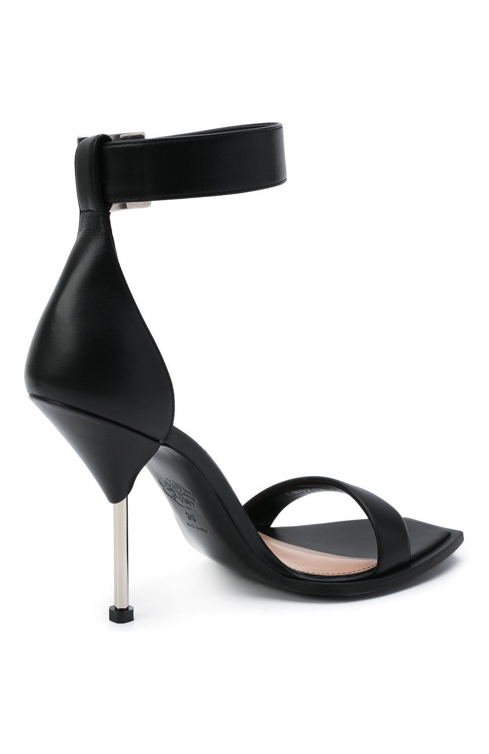 Женские кожаные босоножки ALEXANDER MCQUEEN черного цвета, арт. 651712/WHWQ1 | Фото 4 (Каблук высота: Высокий; Материал внутренний: Натуральная кожа; Каблук тип: Шпилька; Подошва: Плоская)