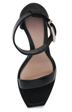 Женские кожаные босоножки ALEXANDER MCQUEEN черного цвета, арт. 651712/WHWQ1 | Фото 5 (Каблук высота: Высокий; Материал внутренний: Натуральная кожа; Каблук тип: Шпилька; Подошва: Плоская)