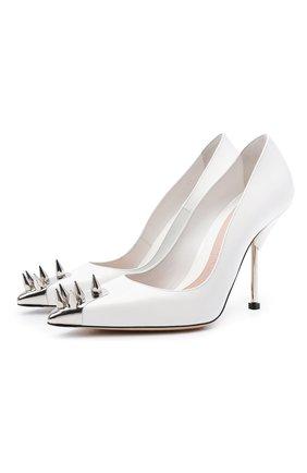 Женские кожаные туфли ALEXANDER MCQUEEN белого цвета, арт. 651714/WHV7B   Фото 1