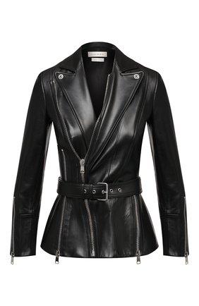 Женская кожаная куртка ALEXANDER MCQUEEN черного цвета, арт. 654729/Q5AFY | Фото 1