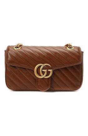 Женская сумка gg marmont 2.0 GUCCI коричневого цвета, арт. 443497/00LFT   Фото 1 (Материал: Натуральная кожа; Сумки-технические: Сумки через плечо; Ремень/цепочка: С цепочкой, На ремешке; Размер: medium)