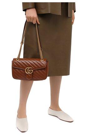 Женская сумка gg marmont 2.0 GUCCI коричневого цвета, арт. 443497/00LFT   Фото 2 (Материал: Натуральная кожа; Сумки-технические: Сумки через плечо; Ремень/цепочка: С цепочкой, На ремешке; Размер: medium)