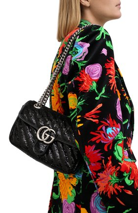 Женская сумка gg marmont 2.0 mini GUCCI черного цвета, арт. 446744/9SYWP   Фото 2 (Материал: Текстиль; Размер: mini; Ремень/цепочка: С цепочкой, На ремешке; Сумки-технические: Сумки через плечо; Женское Кросс-КТ: Вечерняя сумка)