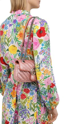 Женская сумка gg marmont 2.0 mini GUCCI розового цвета, арт. 446744/9SYWP   Фото 2 (Материал: Текстиль; Размер: mini; Ремень/цепочка: С цепочкой, На ремешке; Сумки-технические: Сумки через плечо; Женское Кросс-КТ: Вечерняя сумка)