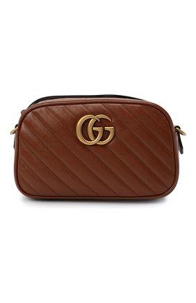 Женская сумка gg marmont 2.0 small GUCCI коричневого цвета, арт. 447632/00LFT   Фото 1 (Ремень/цепочка: На ремешке; Сумки-технические: Сумки через плечо; Размер: small; Материал: Натуральная кожа)