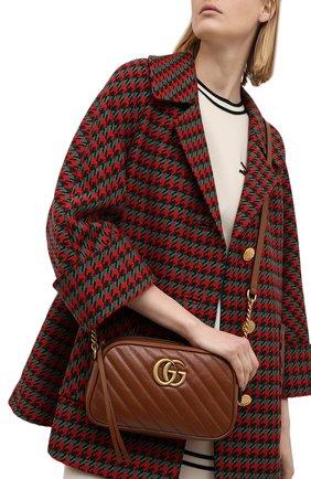 Женская сумка gg marmont 2.0 small GUCCI коричневого цвета, арт. 447632/00LFT   Фото 2 (Ремень/цепочка: На ремешке; Сумки-технические: Сумки через плечо; Размер: small; Материал: Натуральная кожа)