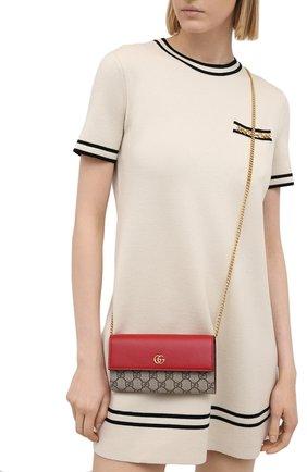 Женские кожаный кошелек на цепочке petite marmont GUCCI красного цвета, арт. 546585/17WAG | Фото 2