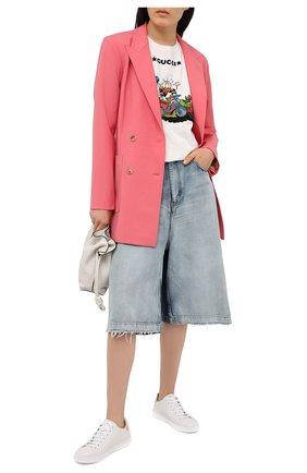 Женские кожаные кеды ace GUCCI светло-розового цвета, арт. 598527/AY070   Фото 2