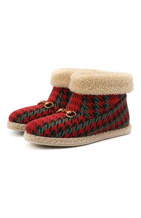 Женские текстильные ботинки GUCCI красного цвета, арт. 599017/2NG50 | Фото 1