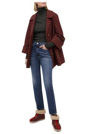 Женские текстильные ботинки GUCCI красного цвета, арт. 599017/2NG50 | Фото 2