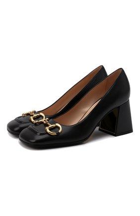 Женские кожаные туфли baby GUCCI черного цвета, арт. 643886/C9D00 | Фото 1