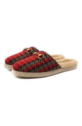 Женского домашние туфли GUCCI красного цвета, арт. 643898/2NG50 | Фото 1