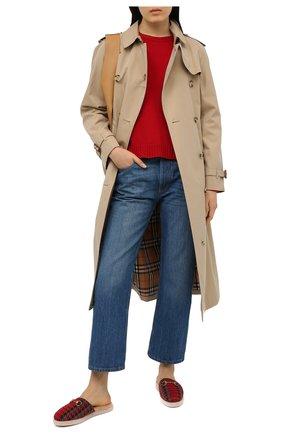 Женского домашние туфли GUCCI красного цвета, арт. 643898/2NG50 | Фото 2