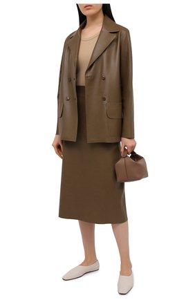 Женская кожаная юбка INES&MARECHAL коричневого цвета, арт. DAISY CUIR AGNEAU SINTRA | Фото 2