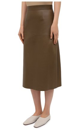 Женская кожаная юбка INES&MARECHAL коричневого цвета, арт. DAISY CUIR AGNEAU SINTRA | Фото 3