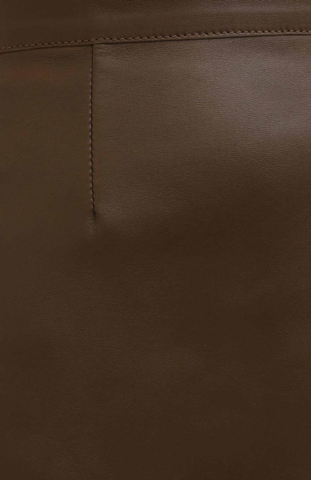 Женская кожаная юбка INES&MARECHAL коричневого цвета, арт. DAISY CUIR AGNEAU SINTRA | Фото 5