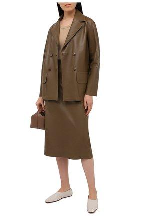 Женский кожаный жакет INES&MARECHAL коричневого цвета, арт. GRAINE CUIR AGNEAU SINTRA | Фото 2