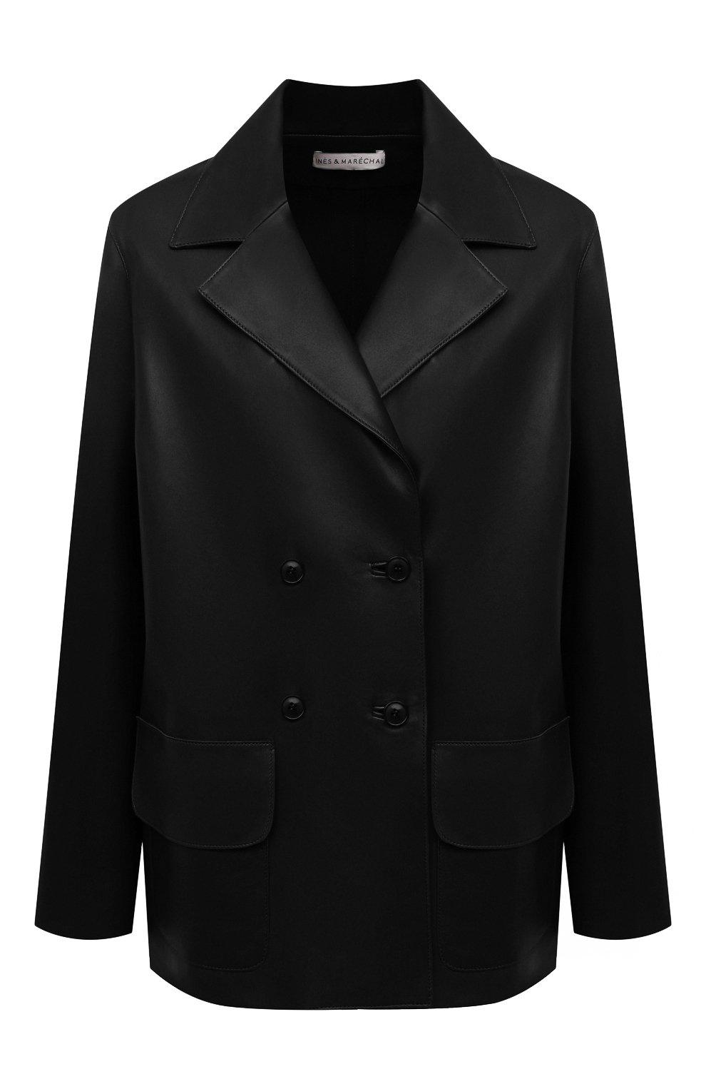 Женский кожаный жакет INES&MARECHAL черного цвета, арт. GRAINE CUIR AGNEAU SINTRA   Фото 1