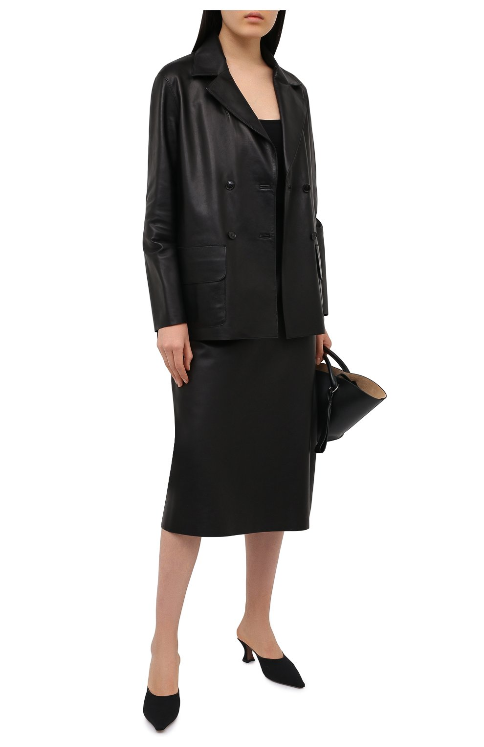 Женский кожаный жакет INES&MARECHAL черного цвета, арт. GRAINE CUIR AGNEAU SINTRA   Фото 2