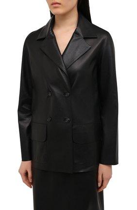 Женский кожаный жакет INES&MARECHAL черного цвета, арт. GRAINE CUIR AGNEAU SINTRA   Фото 3