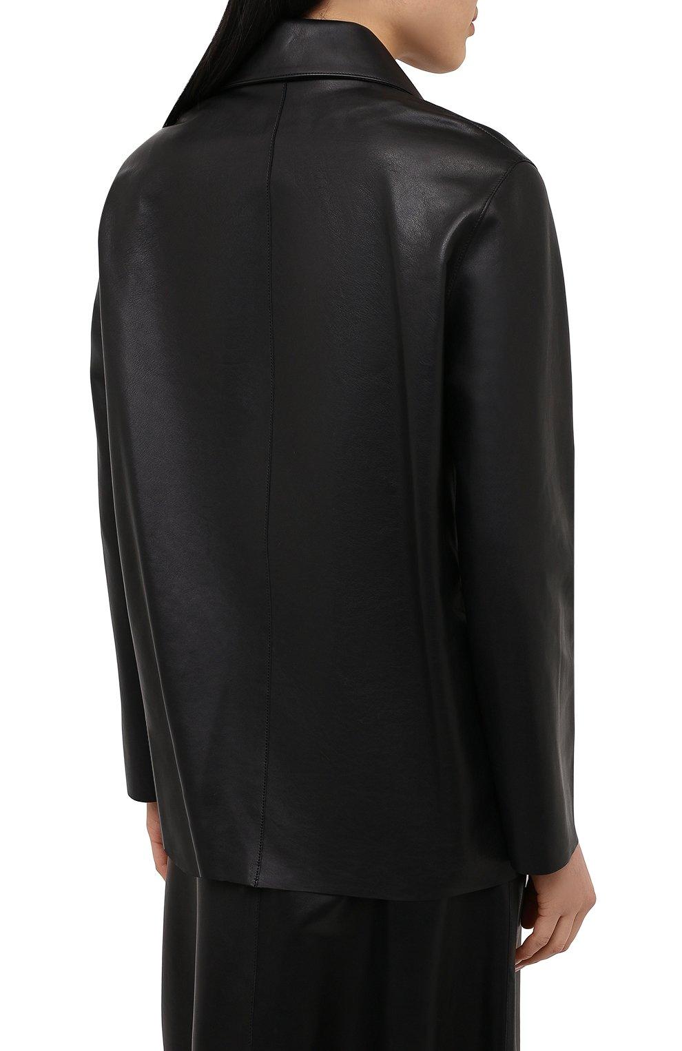 Женский кожаный жакет INES&MARECHAL черного цвета, арт. GRAINE CUIR AGNEAU SINTRA   Фото 4