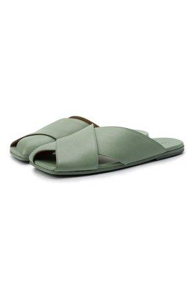 Женские кожаные шлепанцы MARSELL светло-зеленого цвета, арт. MW6370/PELLE VITELL0 | Фото 1