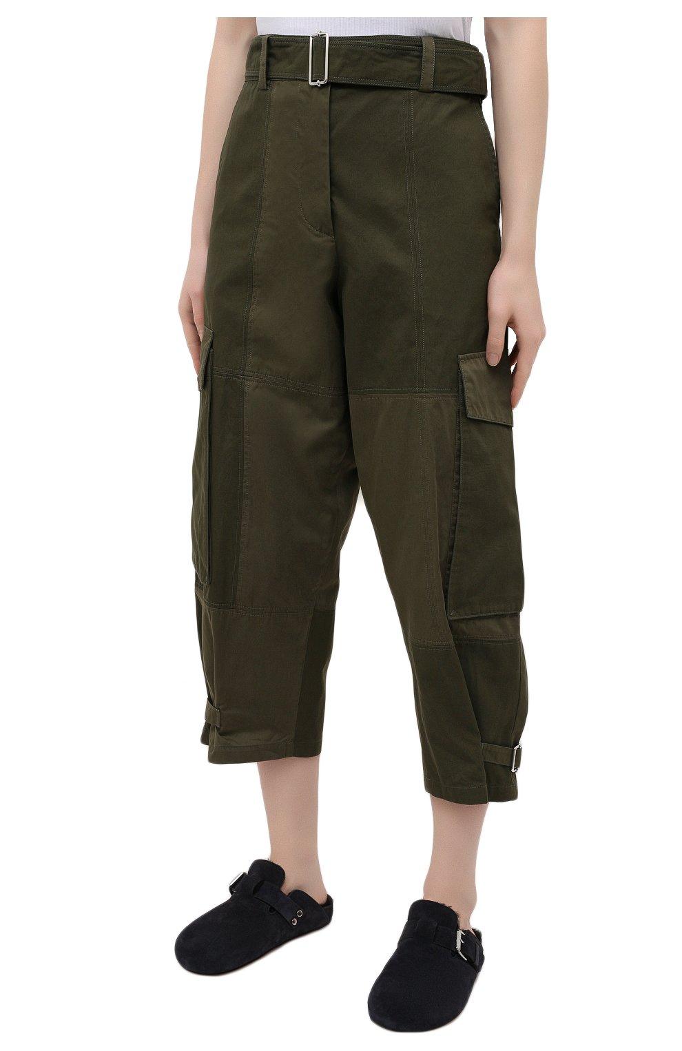 Женские хлопковые брюки JW ANDERSON хаки цвета, арт. TR0129 PG0464 | Фото 3