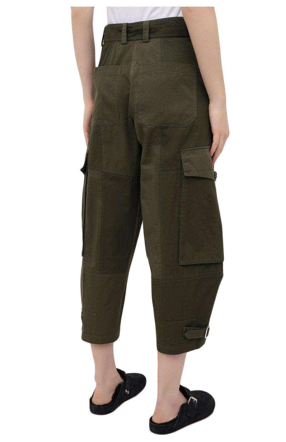Женские хлопковые брюки JW ANDERSON хаки цвета, арт. TR0129 PG0464 | Фото 4
