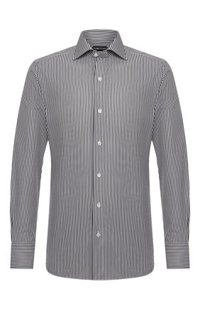 Мужская хлопковая сорочка TOM FORD черно-белого цвета, арт. 9FT770/94S3AX | Фото 1