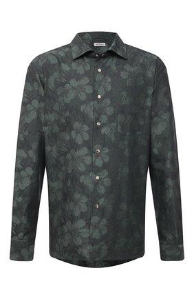Мужская рубашка из хлопка и льна KITON темно-зеленого цвета, арт. UMCNERHH0761602/46-50 | Фото 1