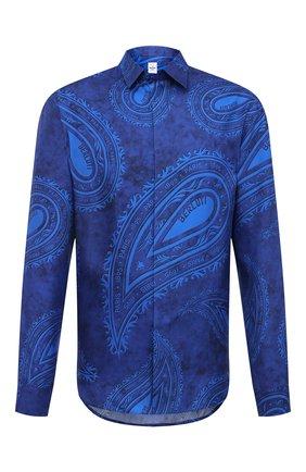 Мужская шелковая рубашка BERLUTI синего цвета, арт. R19HTL52-001   Фото 1