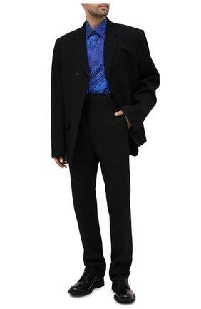 Мужская шелковая рубашка BERLUTI синего цвета, арт. R19HTL52-001   Фото 2