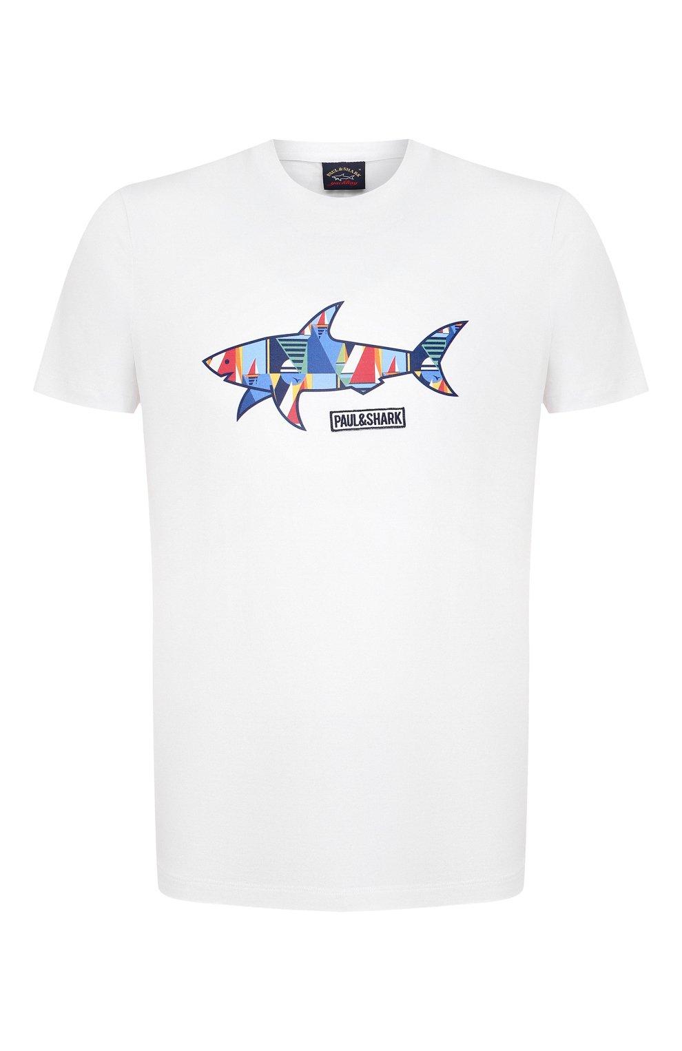 Мужская хлопковая футболка PAUL&SHARK белого цвета, арт. 21411097/C00   Фото 1 (Рукава: Короткие; Длина (для топов): Стандартные; Принт: С принтом; Материал внешний: Хлопок; Стили: Кэжуэл)