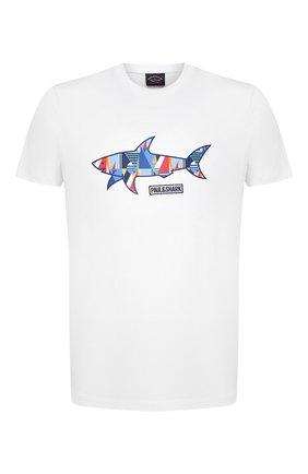 Мужская хлопковая футболка PAUL&SHARK белого цвета, арт. 21411097/C00 | Фото 1 (Рукава: Короткие; Длина (для топов): Стандартные; Принт: С принтом; Материал внешний: Хлопок; Стили: Кэжуэл)