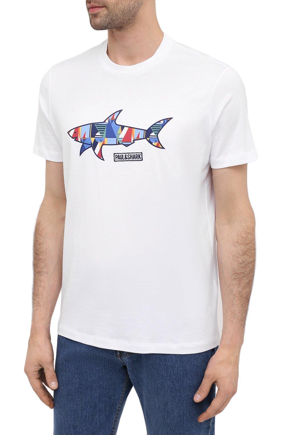 Мужская хлопковая футболка PAUL&SHARK белого цвета, арт. 21411097/C00   Фото 3 (Рукава: Короткие; Длина (для топов): Стандартные; Принт: С принтом; Материал внешний: Хлопок; Стили: Кэжуэл)
