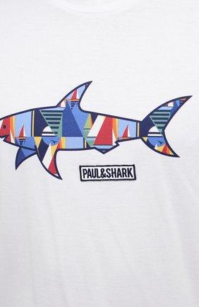 Мужская хлопковая футболка PAUL&SHARK белого цвета, арт. 21411097/C00   Фото 5 (Рукава: Короткие; Длина (для топов): Стандартные; Принт: С принтом; Материал внешний: Хлопок; Стили: Кэжуэл)